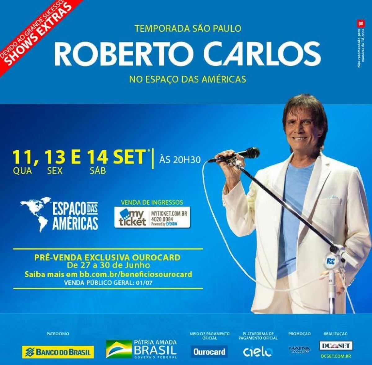 DEVIDO AO GRANDE SUCESSO, ROBERTO CARLOS, Orquestra e Coral NO ESPAÇO DAS AMÉRICAS, EM SÃO PAULO