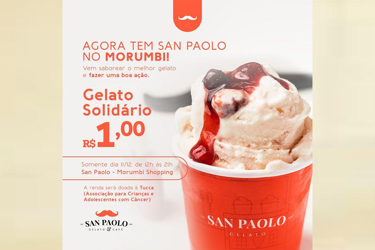 SAN PAOLO GELATO & CAFÉ INAUGURA NOVA LOJA NO SHOPPING MORUMBI COM CAMPANHA DE GELATO A R$ 1