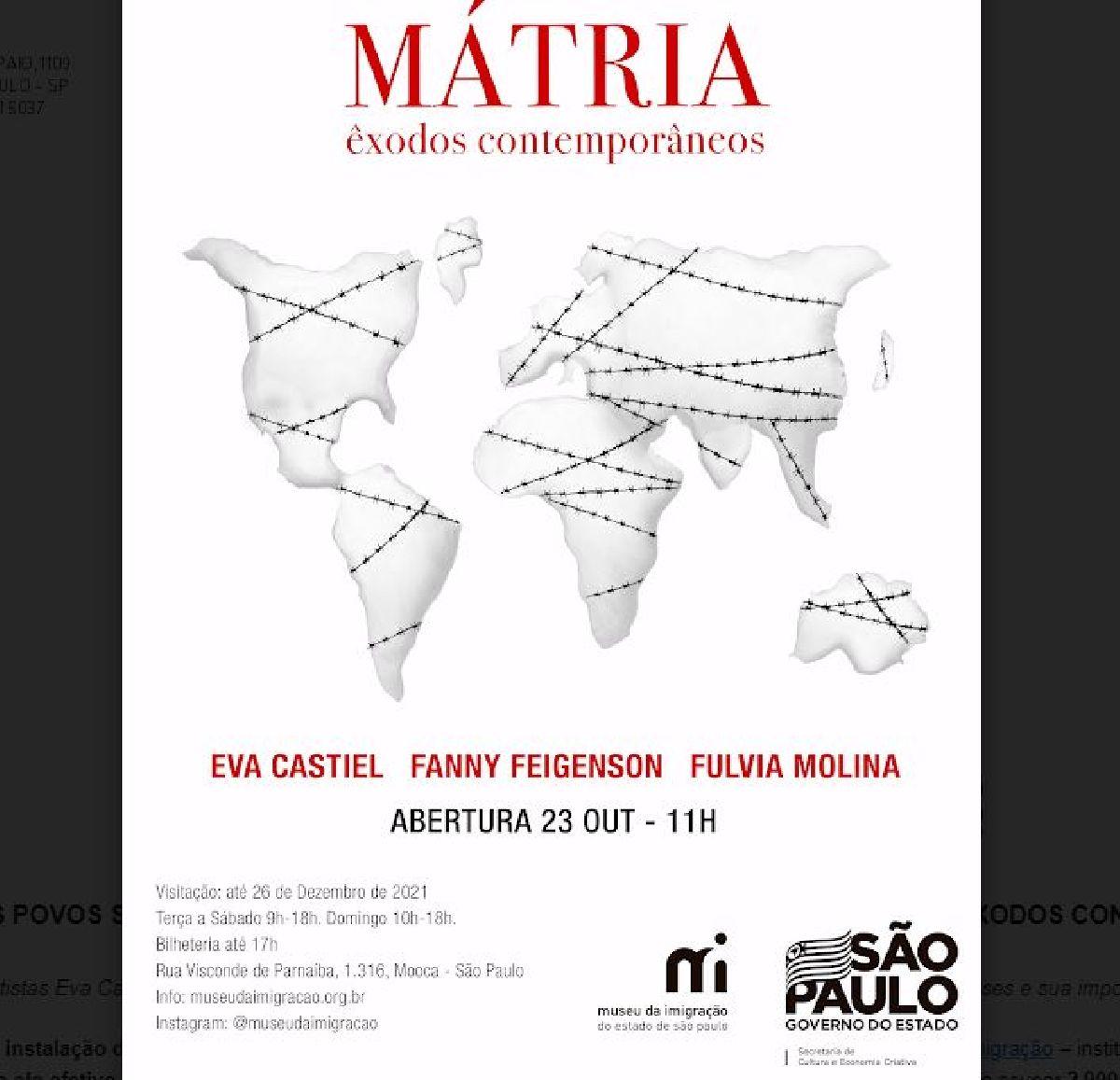 """CANTIGAS DE NINAR DE VÁRIOS POVOS SÃO MOSTRADAS ATRAVÉS DA EXPERIÊNCIA IMERSIVA  """"MÁTRIA - ÊXODOS CONTEMPORÂNEOS"""", NO MUSEU DA IMIGRAÇÃO DE SÃO PAULO"""