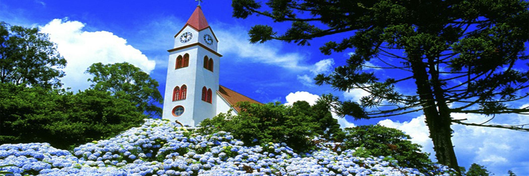 HOME ROTEIRO DA SERRA GAUCHA - RS GRAMADO - Nova petropolis - Topo vermelho da igreja