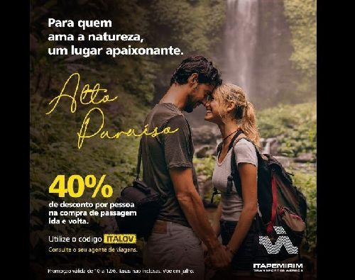 ITAPEMIRIM TRANSPORTES AÉREOS LANÇA PROMOÇÃO COM 40% DE DESCONTO EM PASSAGENS PARA COMEMORAR O DIA DOS NAMORADOS